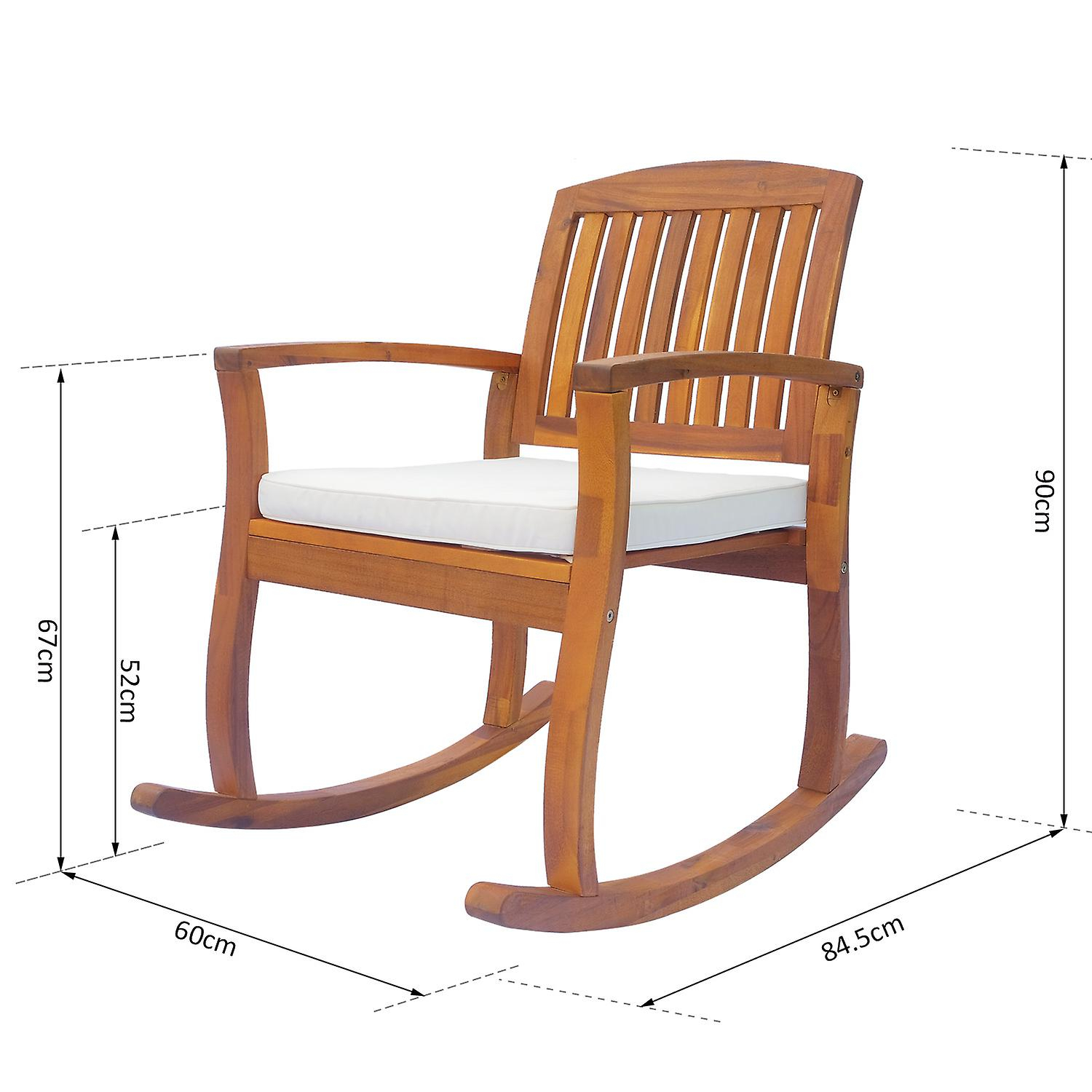 Outsunny Acacia Hardwood Rocking Chair Deck Indoor Outdoor Porch Garden  Slat Cushion With Traditional Indoor Acacia Wood Rocking Chairs With Cushions (#17 of 20)