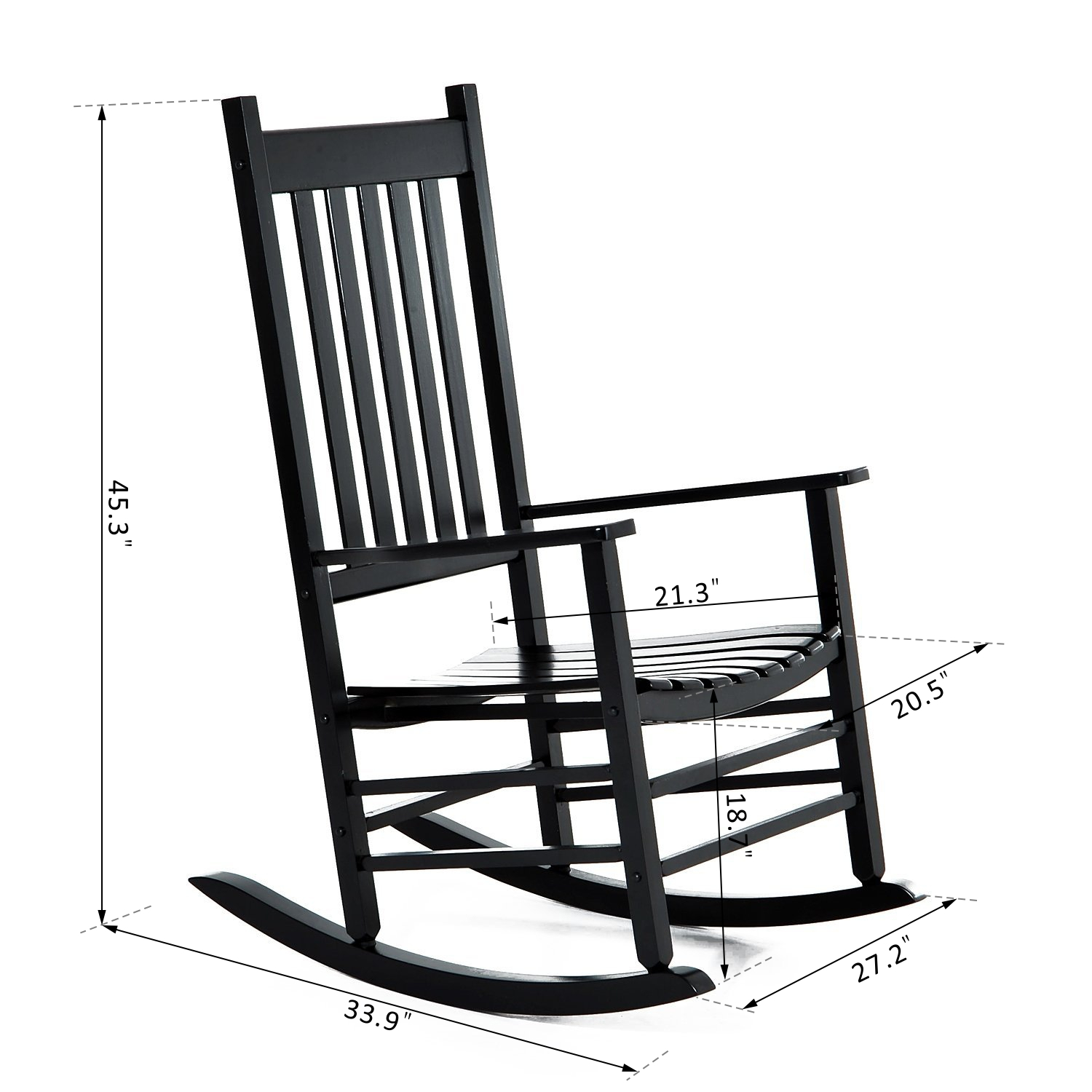 Outsunny Porch Rocking Chair Outdoor Patio Wooden Rocker – Black Inside Traditional Wooden Porch Rocking Chairs (#13 of 20)