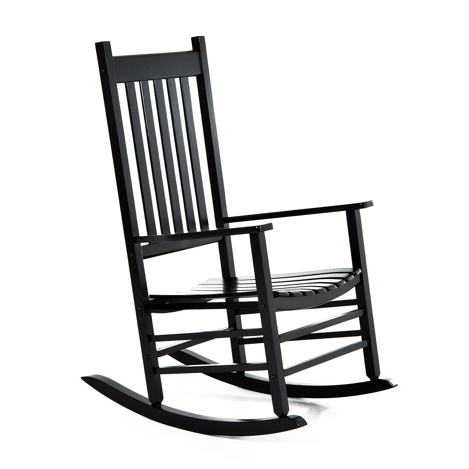 Outsunny Wooden Indoor Outdoor Portable Porch Slat Rocking Chair – Black Within Indoor / Outdoor Porch Slat Rocking Chairs (#17 of 20)