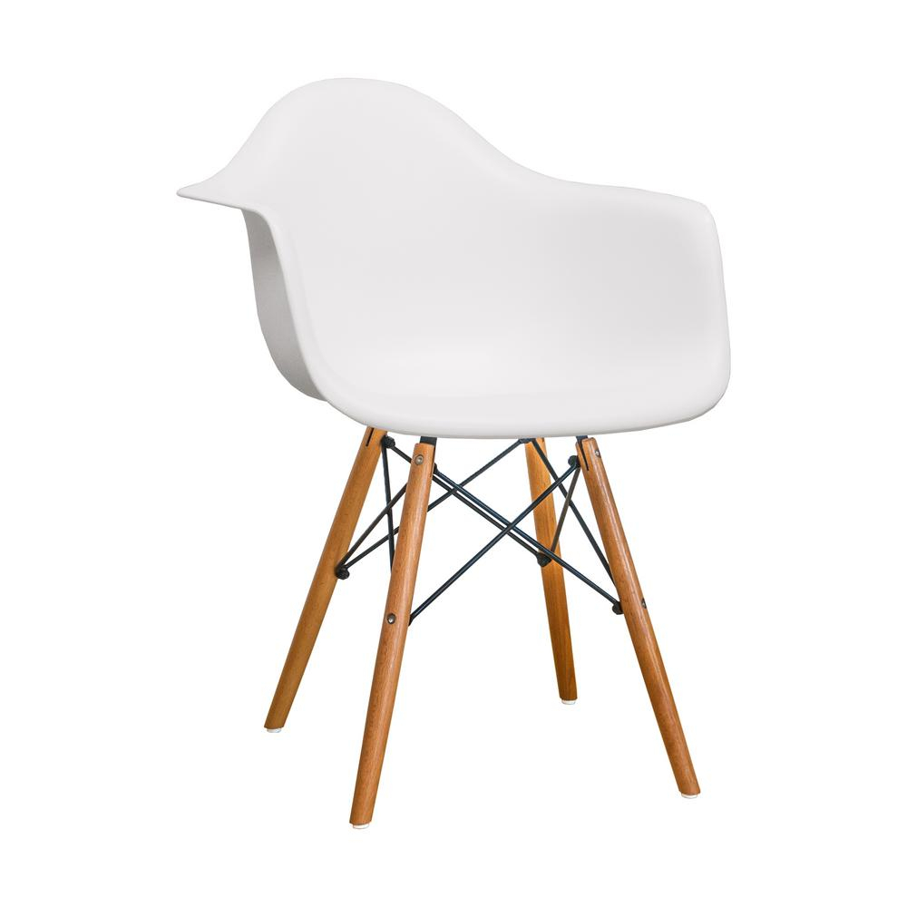 Inspiration about Paris Tower Dining White Arm Chair With Wood Legs (Set Of 2) Inside Plastic Arm Chairs With Rocking Legs (#10 of 20)