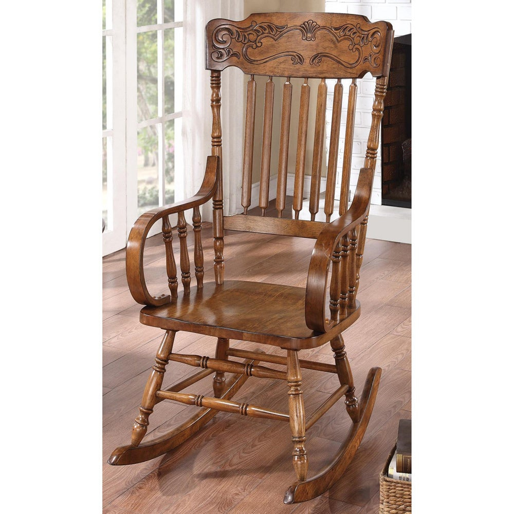 Inspiration about Pavillion Windsor Distressed Brown Rocking Chair Inside Tobacco Brown Wooden Rocking Chairs (#7 of 20)