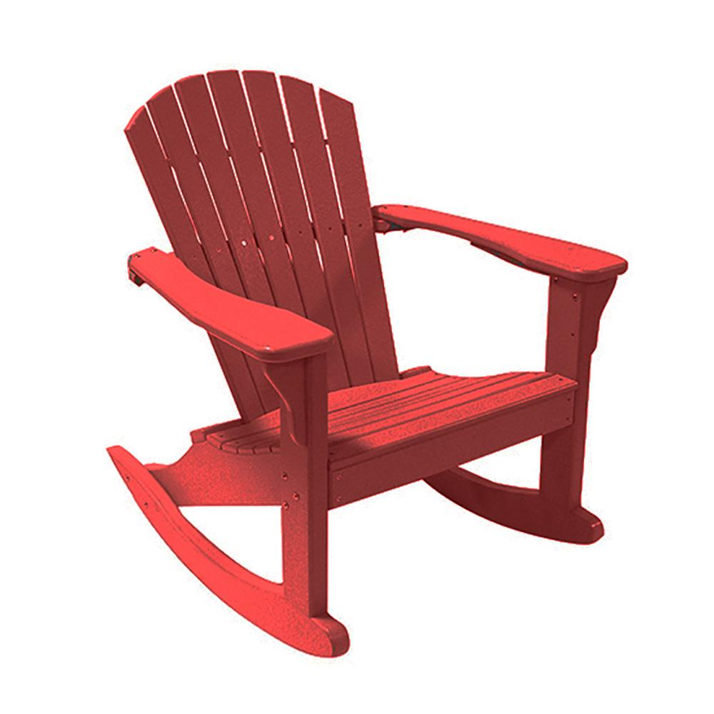 Perfect Choice Cardinal Red Poly Lumber Outdoor Rocking Chair Throughout Brown Wood Youth Rocking Chairs (#16 of 20)