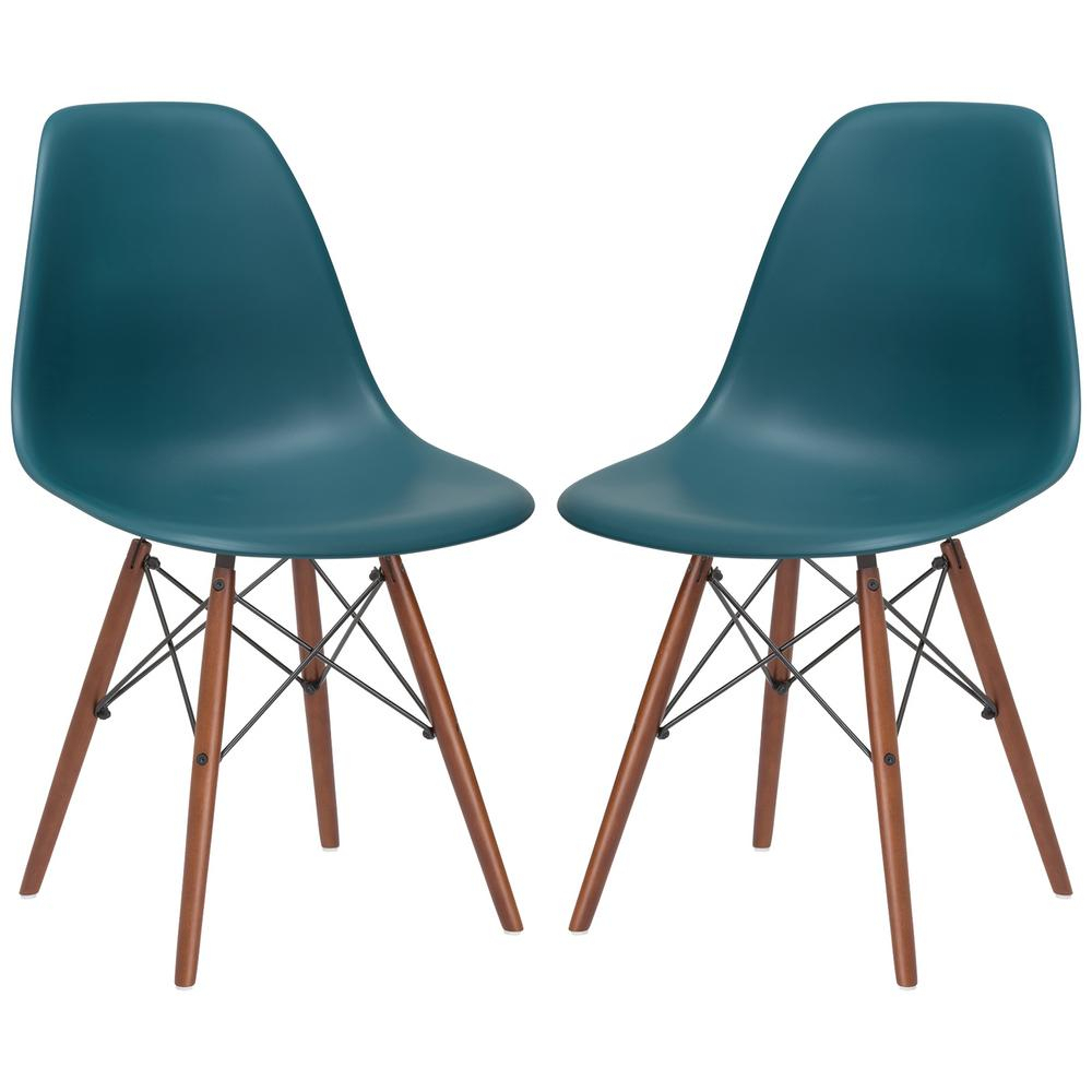 Inspiration about Poly And Bark Vortex Teal Side Chair Walnut Legs (Set Of 2 Inside Poly And Bark Teal Rocking Chairs Lounge Chairs (#15 of 20)