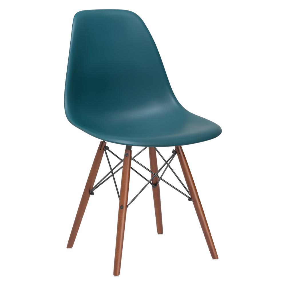 Inspiration about Poly And Bark Vortex Teal Side Chair With Walnut Legs Hd 105 Regarding Poly And Bark Teal Rocking Chairs Lounge Chairs (#13 of 20)