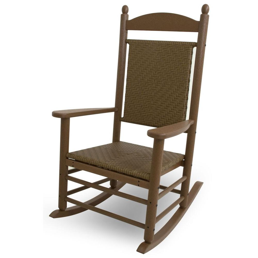 Polywood Jefferson Teak Woven All Weather Plastic Outdoor Rocker With  Tigerwood Weave Pertaining To Traditional Wooden Porch Rocking Chairs (#14 of 20)