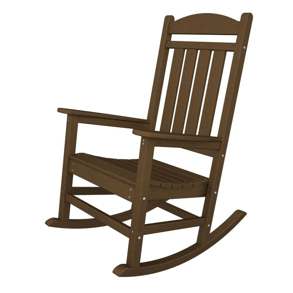 Inspiration about Polywood Presidential Teak Patio Rocker In Antique White Wooden Rocking Chairs (#7 of 20)