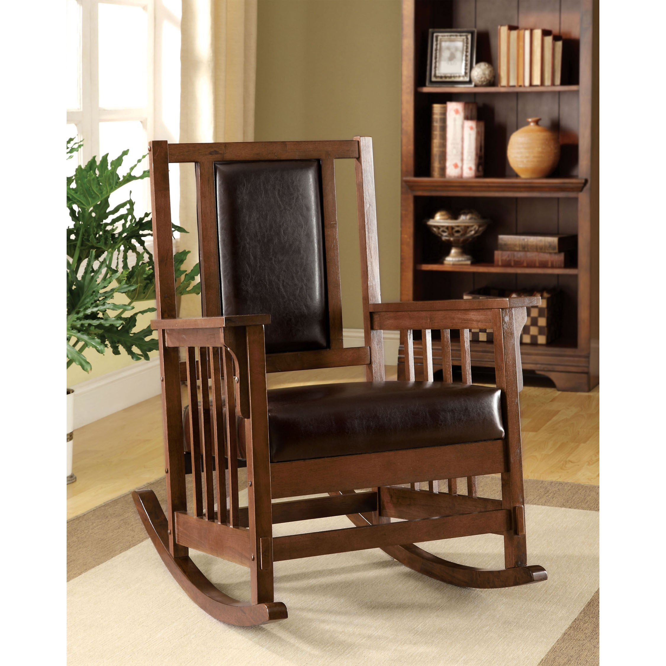Inspiration about Poppy Mission Espresso Rocking Chairfoa With Regard To Dark Oak Wooden Padded Faux Leather Rocking Chairs (#5 of 20)