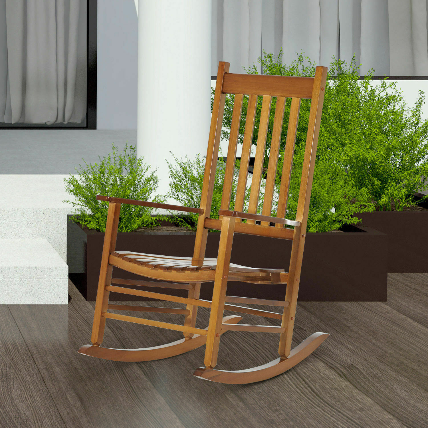Porch Rocking Chair Solid Wood Home Traditional Bench Furniture Outdoor Within Traditional Wooden Porch Rocking Chairs (#15 of 20)