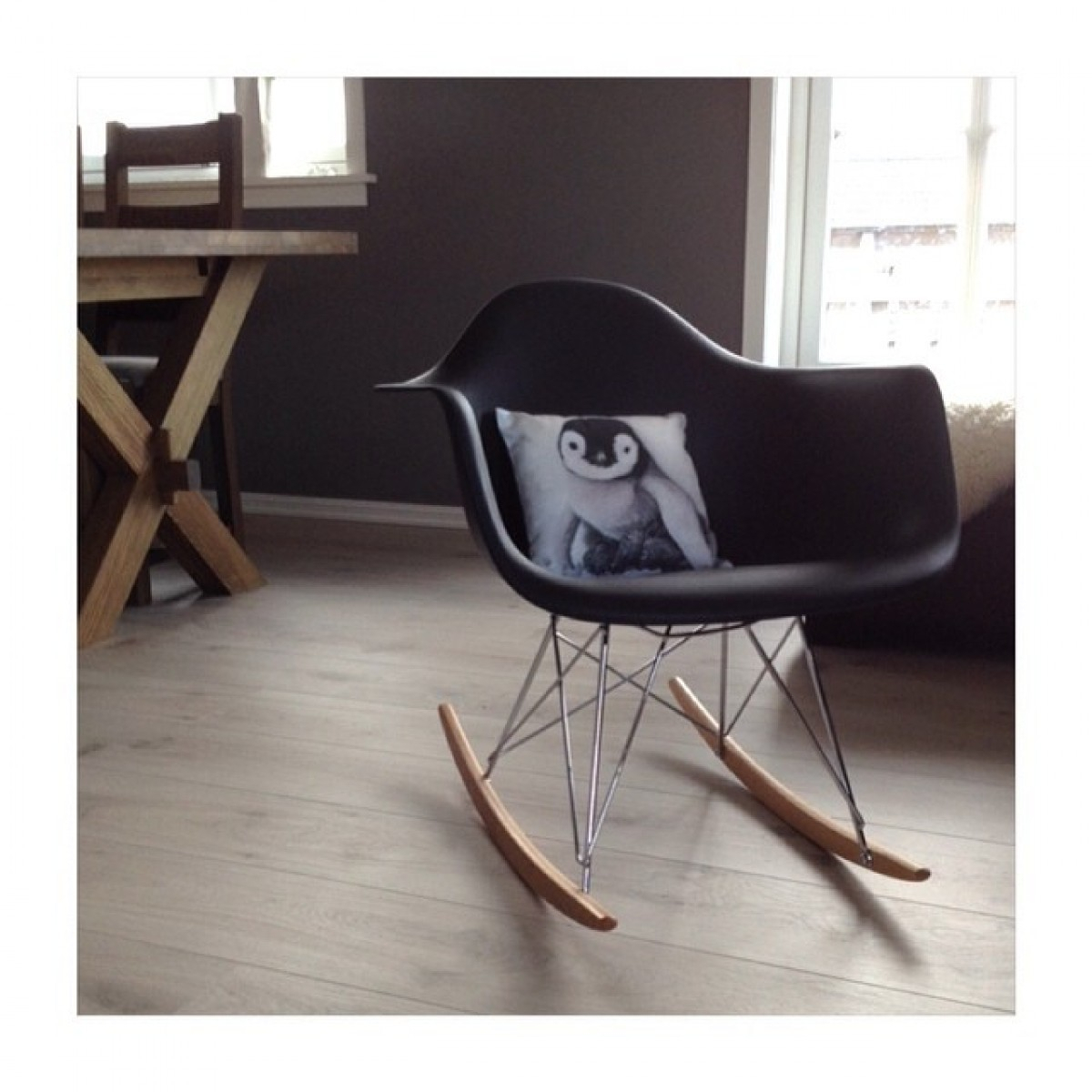 Inspiration about Rar Molded Black Plastic Rocking Chair With Steel Eiffel Legs Intended For Black Plastic Rocking Chairs (#1 of 20)