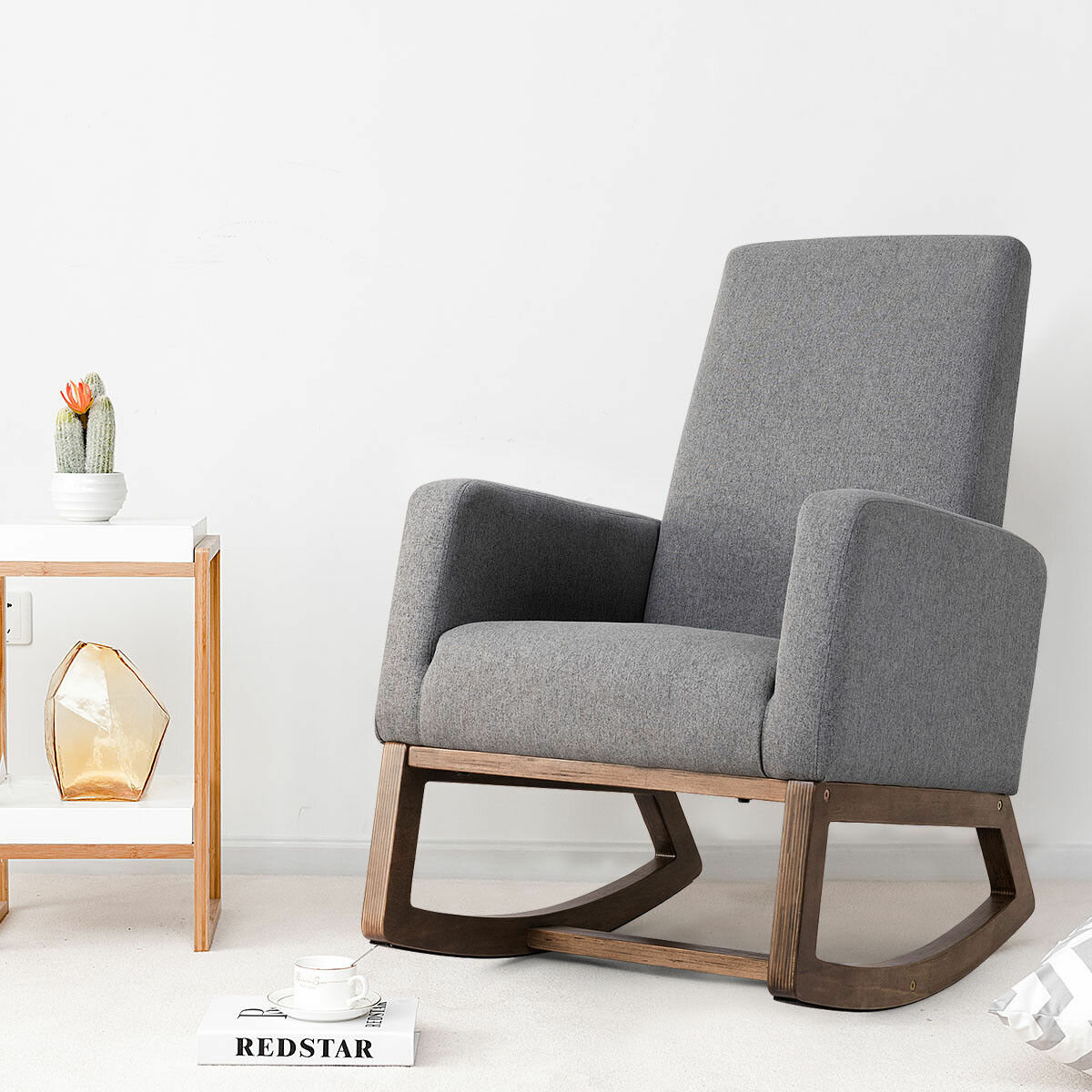 Inspiration about Raya Mid Century Upholstered Rocking Chair Inside Mid Century Modern Fabric Rocking Chairs (#12 of 20)