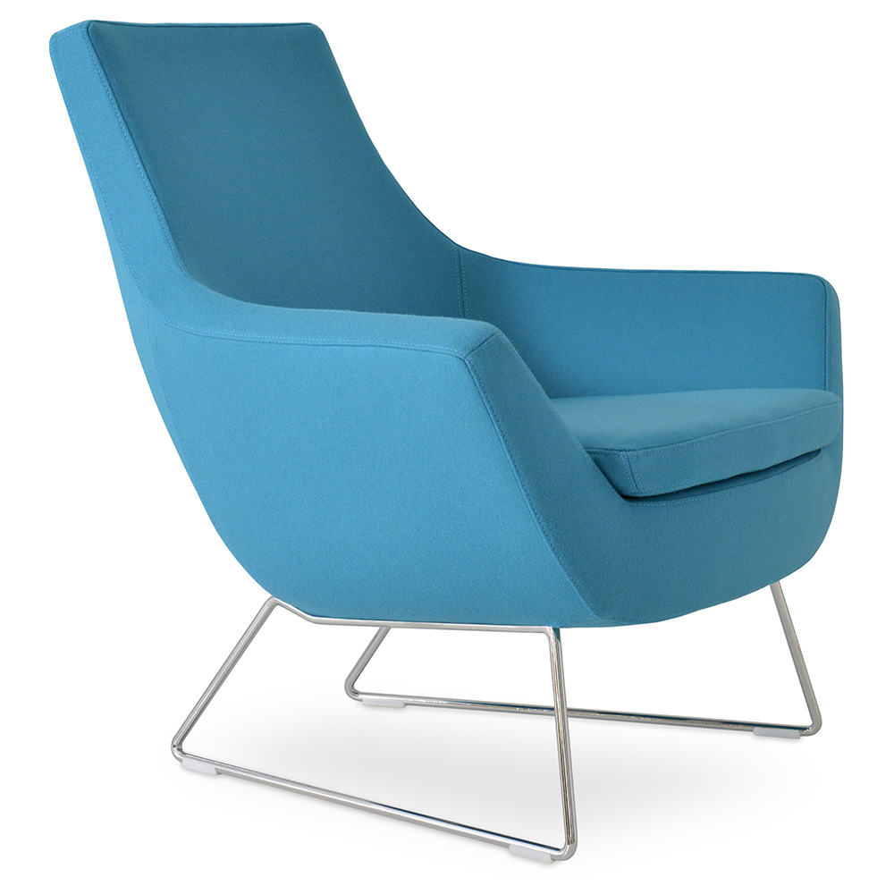 Inspiration about Rebecca Arm Chair | Chrome Wire Base + Turquoise Fabric Within Modern Blue Fabric Rocking Arm Chairs (#5 of 20)