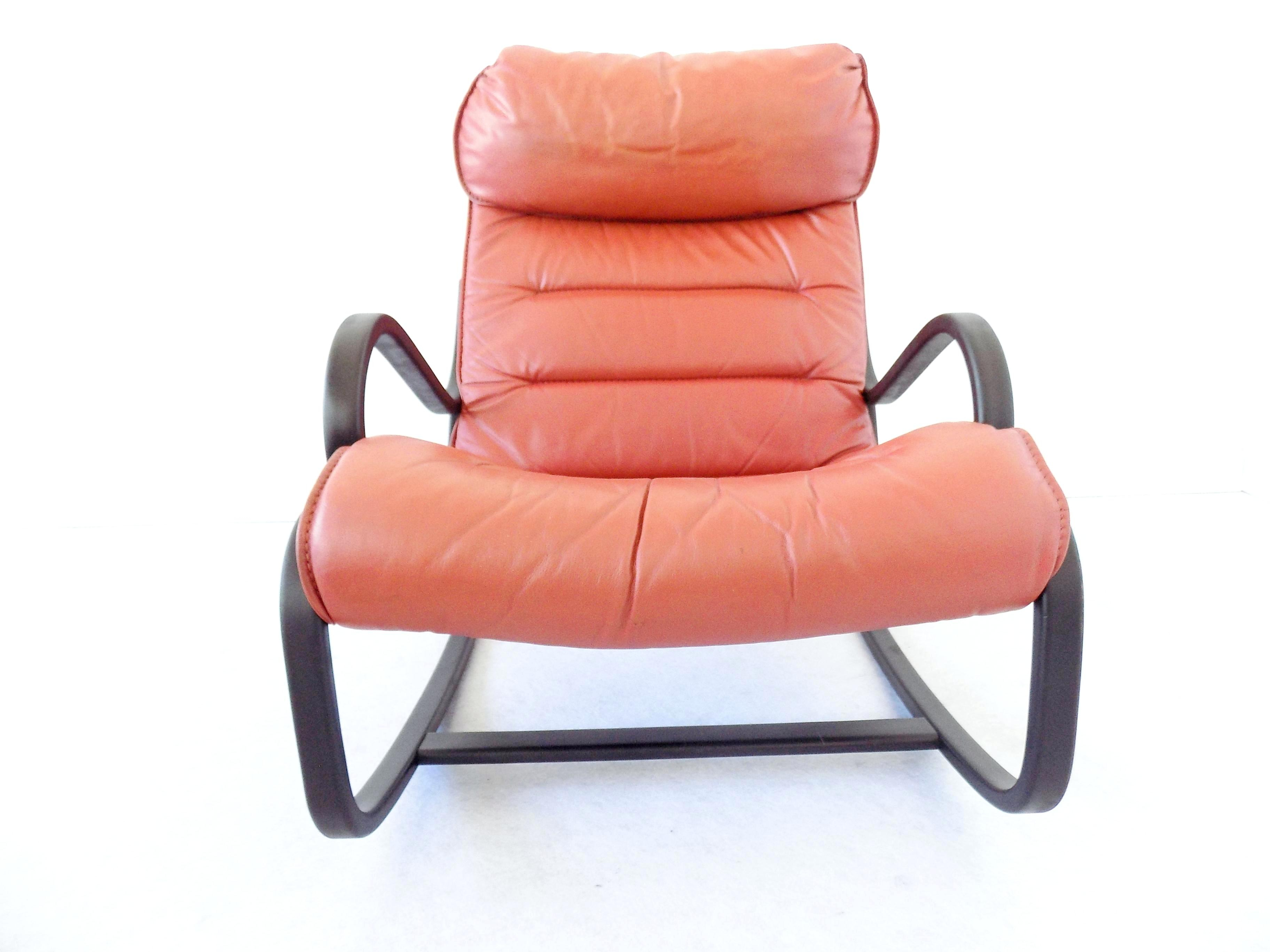 Red Leather Rocking Chair – Happyacademy (#9 of 20)