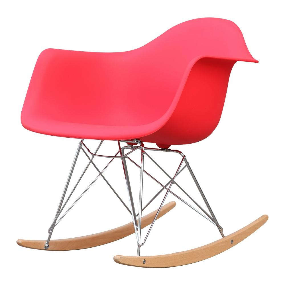 Red Rocker Arm Chair Regarding Plastic Arm Chairs With Rocking Legs (View 6 of 20)
