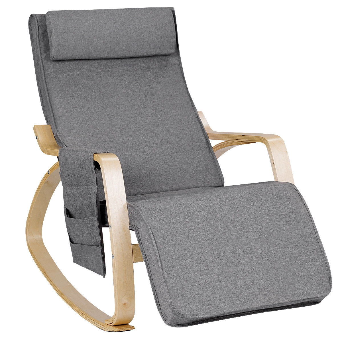 Inspiration about Relax Adjustable Lounge Rocking Chair With Pillow & Pocket In Mid Century Birch Rocking Chairs (#20 of 20)