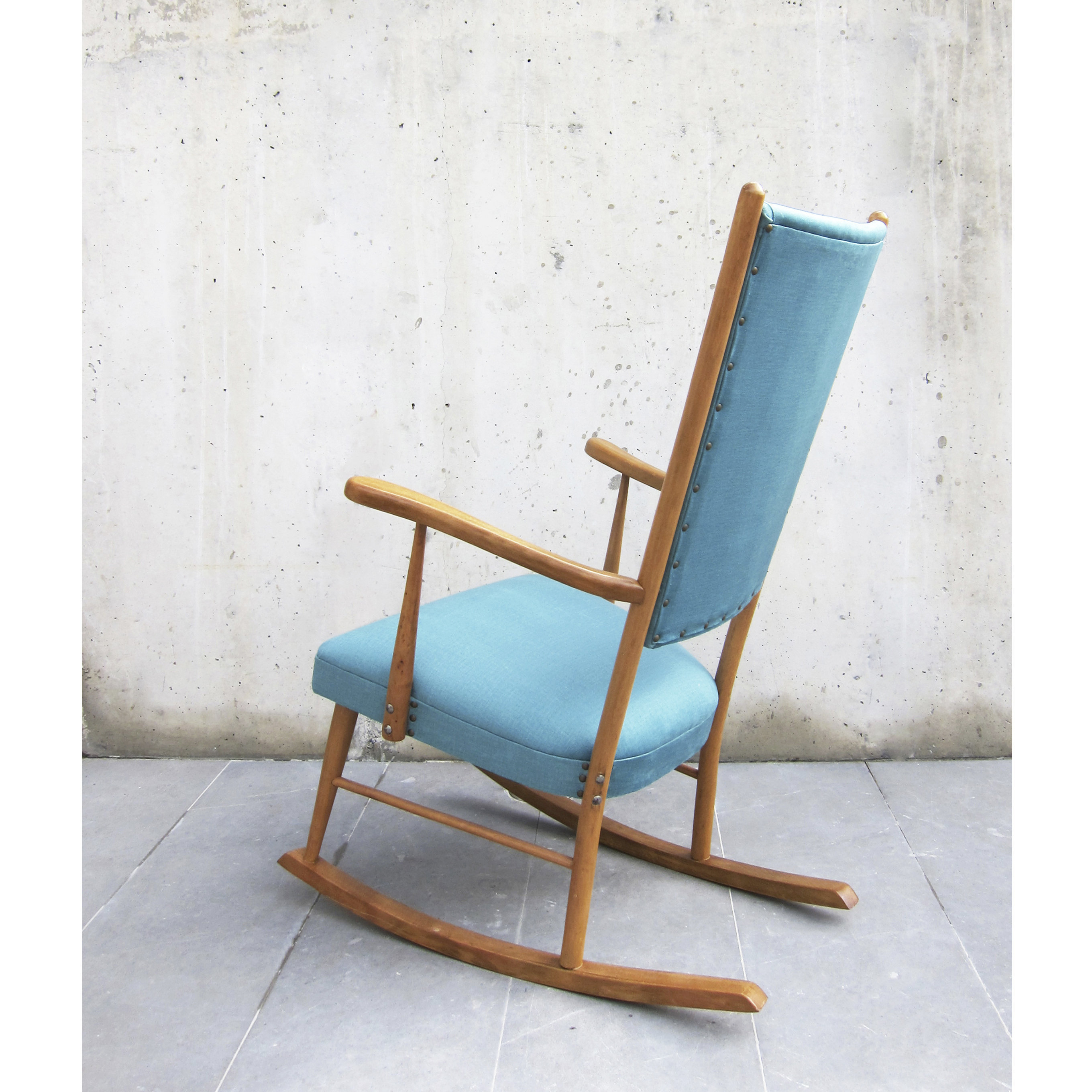 Inspiration about Restored Vintage Rocking Chair 1960S / New Upholstery / Solid Beech Wood  And New Water Blue Velvet Fabrics / Lounge Chair / Reading Corner Intended For Velvet Rocking Chairs (#18 of 20)
