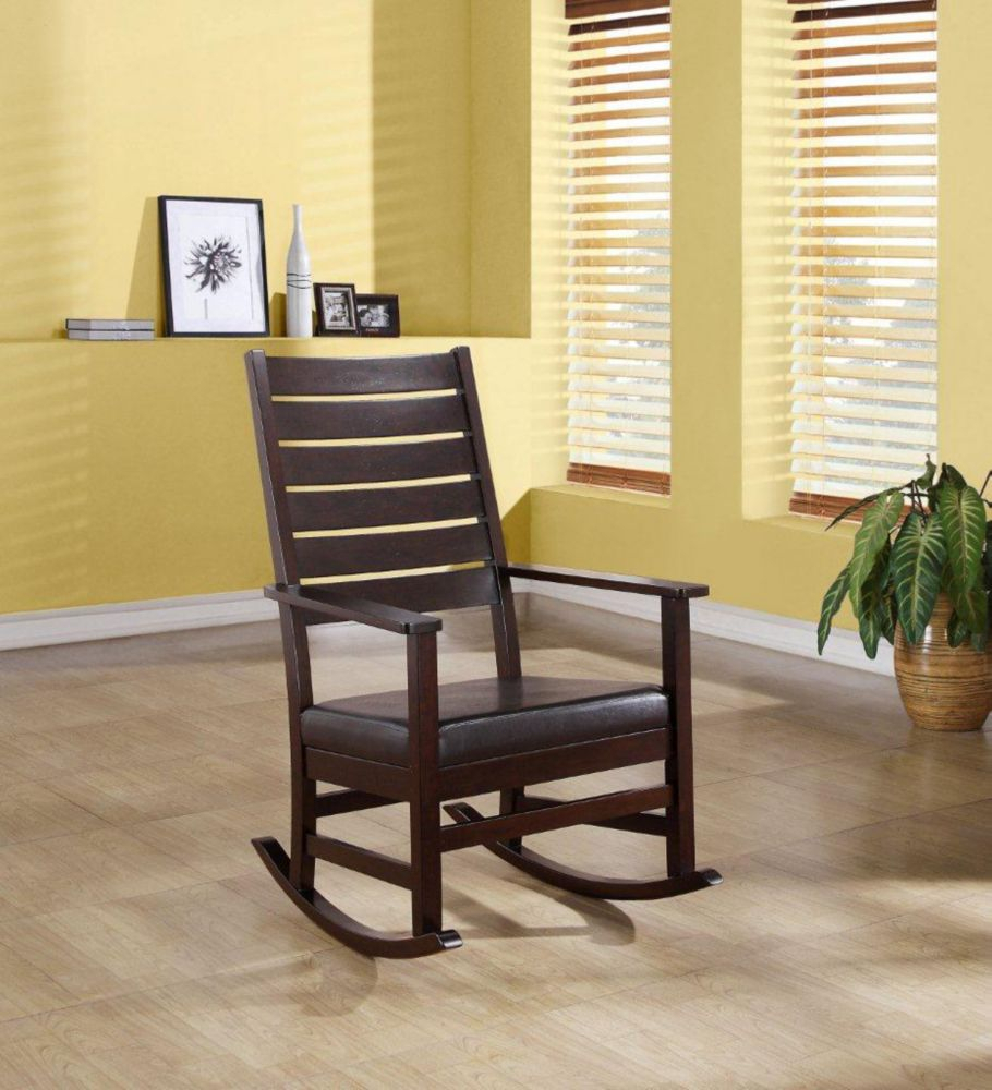 "Inspiration about Rocking Chair – 43""h / Cappuccino Slat Back Pertaining To Cappuccino Curved Rocking Chairs (#13 of 20)"