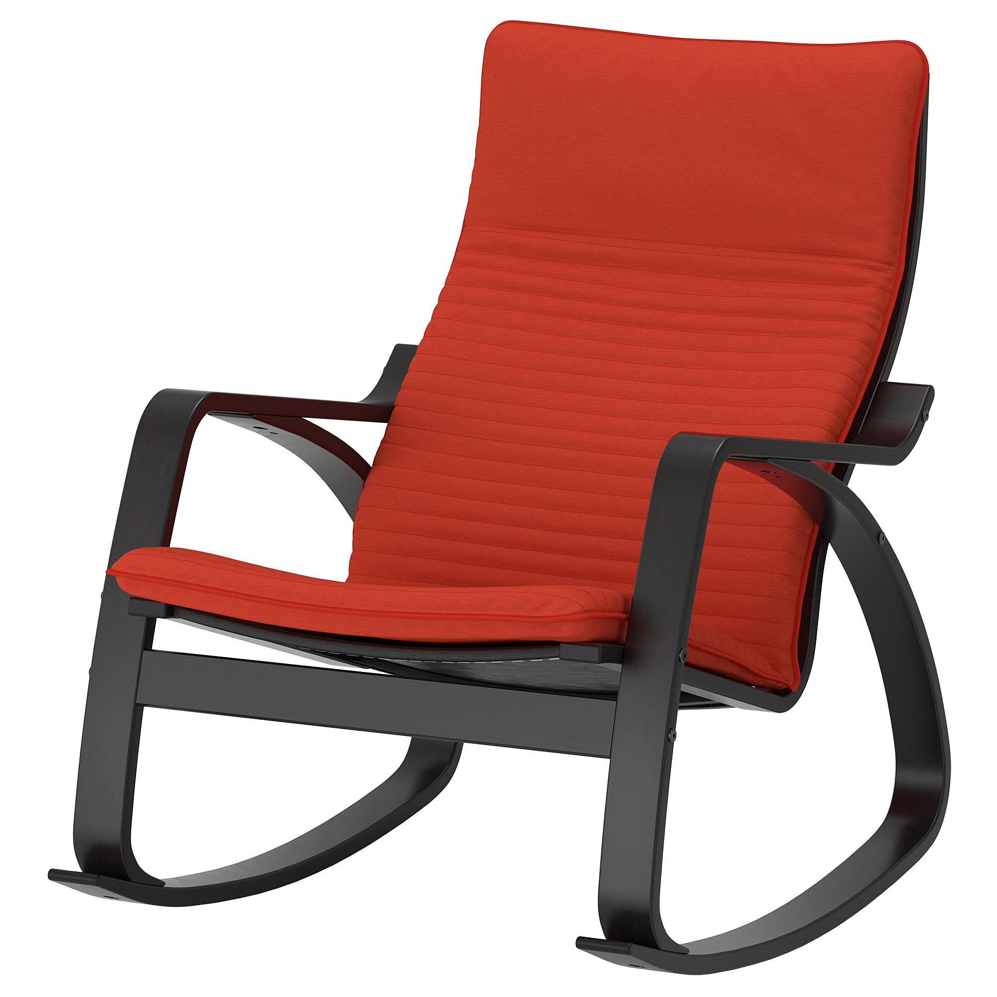 Inspiration about Rocking Chair Poäng Black Brown, Knisa Red/orange With Regard To Orange Rocking Chairs Lounge Chairs (#7 of 20)
