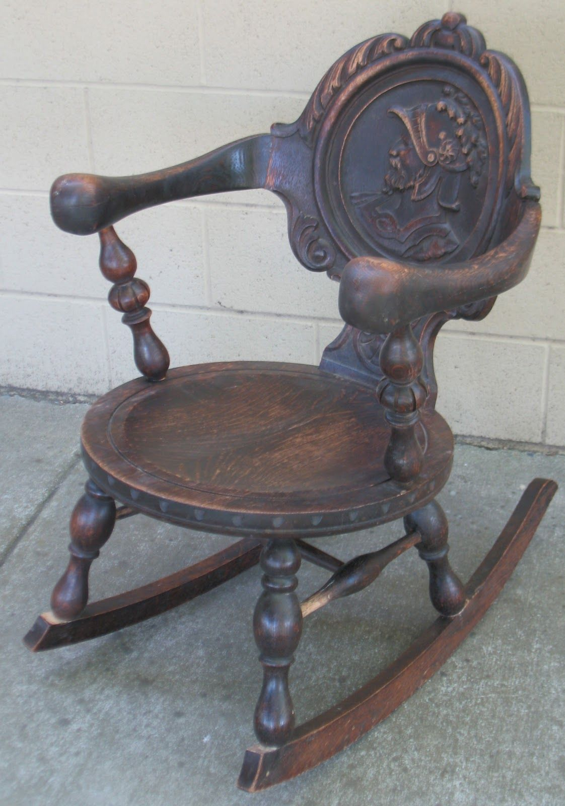 Rocking Chair With Carved Back Panel | Carved Oak Pub/friar With Regard To Oak Carved Rocking Chairs Chairs (#20 of 20)