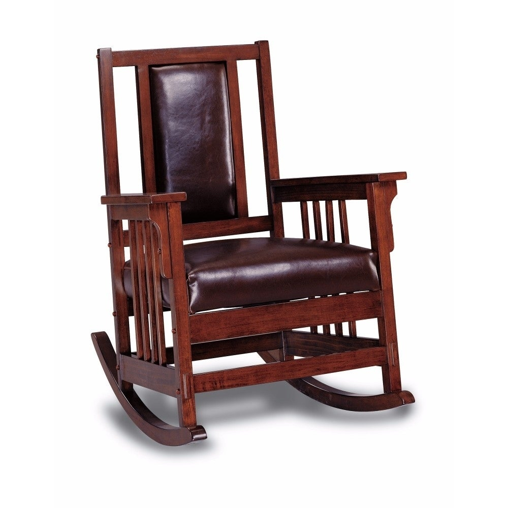 Inspiration about Rocking Chairs Benzara Living Room Chairs | Shop Online At With Faux Leather Upholstered Wooden Rocking Chairs With Looped Arms, Brown And Red (#11 of 20)