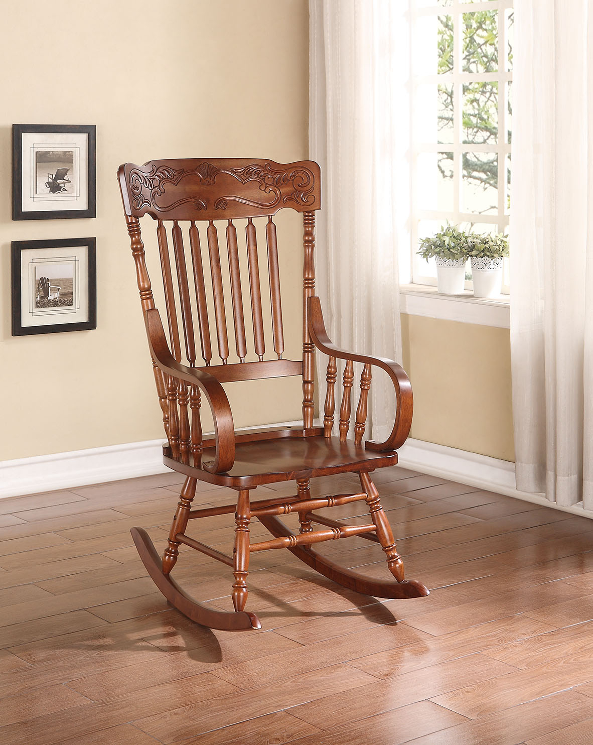 Rocking Chairs In Elegant Tobacco Brown Wooden Rocking Chairs (#15 of 20)