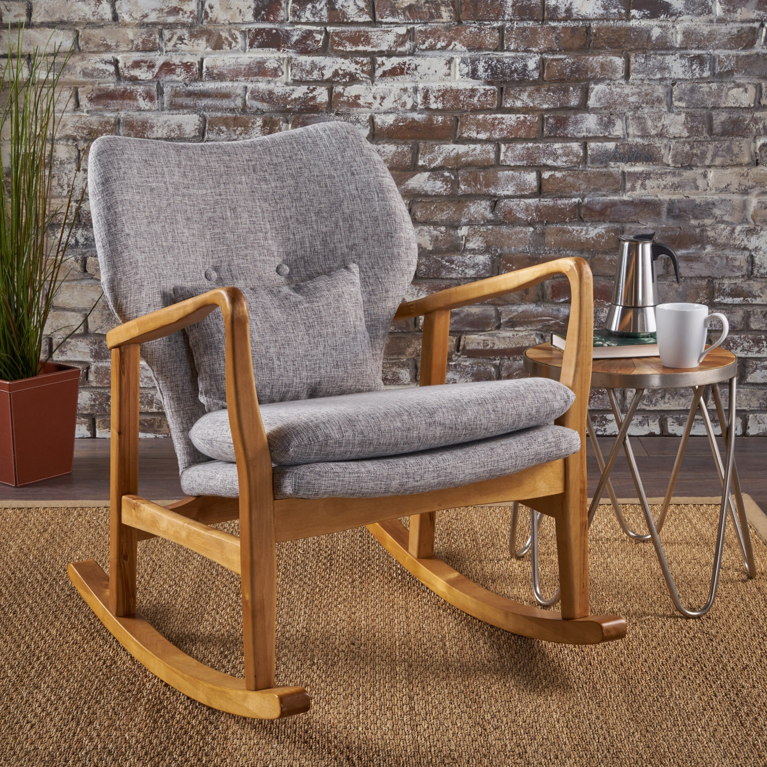 Rocking Chairs Living Room Furniture | Find Great Furniture Inside Beige Fabric And Cherry Wood Rocking Chairs (View 2 of 20)