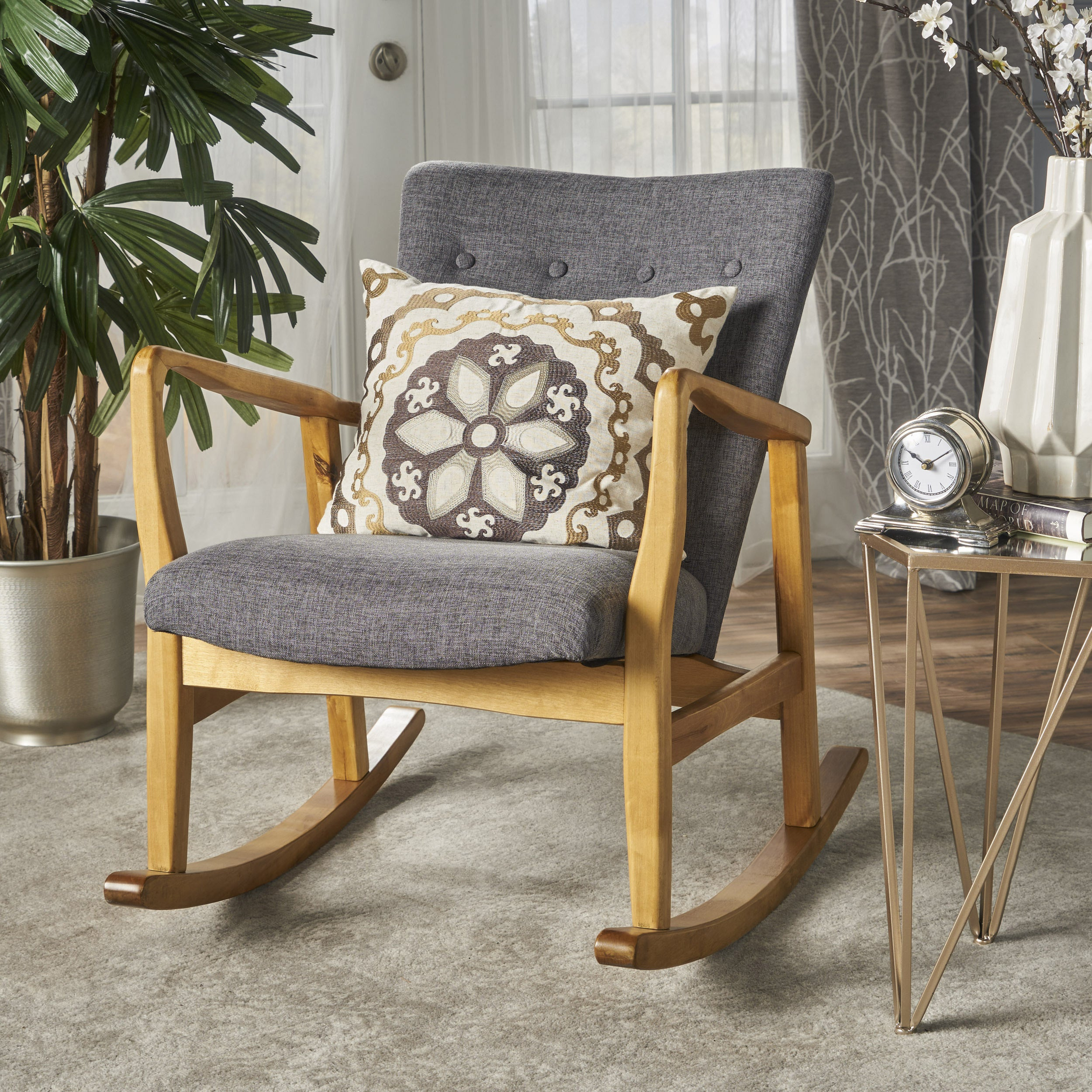 Inspiration about Rocking Chairs, Modern & Contemporary Living Room Chairs With Regard To Faux Leather Upholstered Wooden Rocking Chairs With Looped Arms, Brown (#15 of 20)