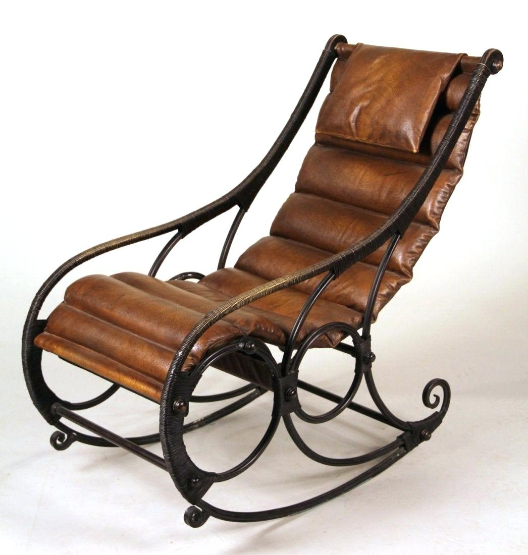 Rocking Leather Chair – Muangfan In Faux Leather Upholstered Wooden Rocking Chairs With Looped Arms, Brown (#15 of 20)