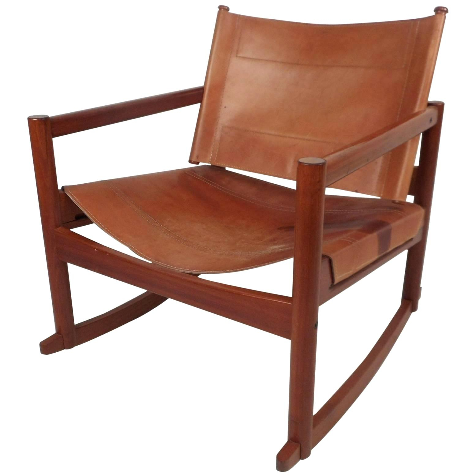 Rocking Leather Chair – Muangfan Regarding Faux Leather Upholstered Wooden Rocking Chairs With Looped Arms, Brown (#16 of 20)