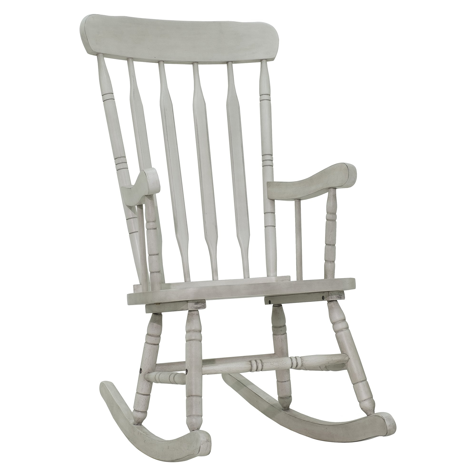 Inspiration about Rubberwood Indoor / Outdoor Porch Slat Rocking Chair – Antique White In Indoor / Outdoor Porch Slat Rocking Chairs (#1 of 20)