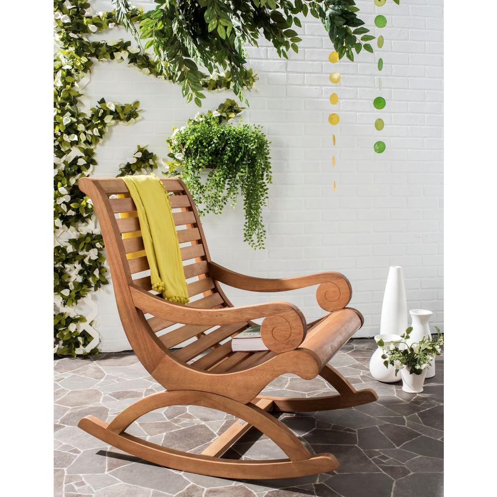 Safavieh Sonora Teak Brown Outdoor Patio Rocking Chair Within Traditional Indoor Acacia Wood Rocking Chairs With Cushions (#18 of 20)