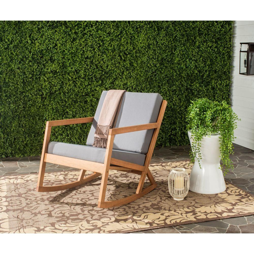 Safavieh Vernon Teak Brown Outdoor Patio Rocking Chair With Gray Cushion Regarding Rocking Chairs In Cream Fabric And White (#18 of 20)