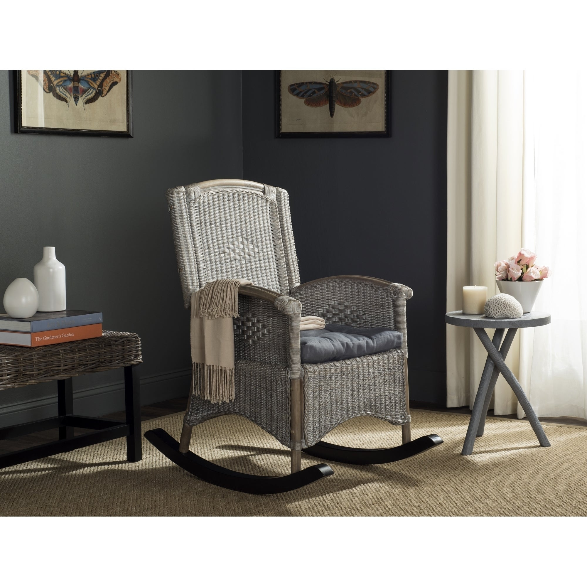 Safavieh Verona Antique Grey Rocking Chair Pertaining To Carbon Loft Ariel Rocking Chairs In Espresso Pu And Walnut (View 6 of 20)