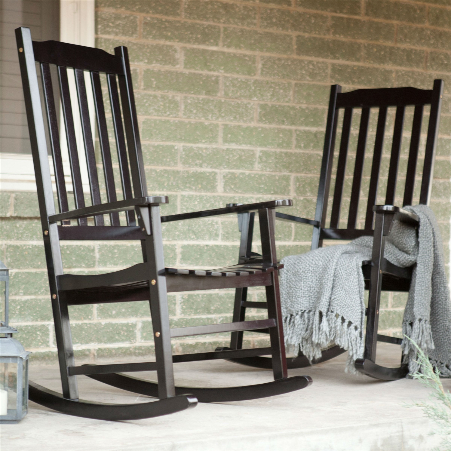 Set Of 2 – Indoor/outdoor Patio Porch Black Slat Rocking Chairs Throughout Indoor / Outdoor Porch Slat Rocking Chairs (#19 of 20)