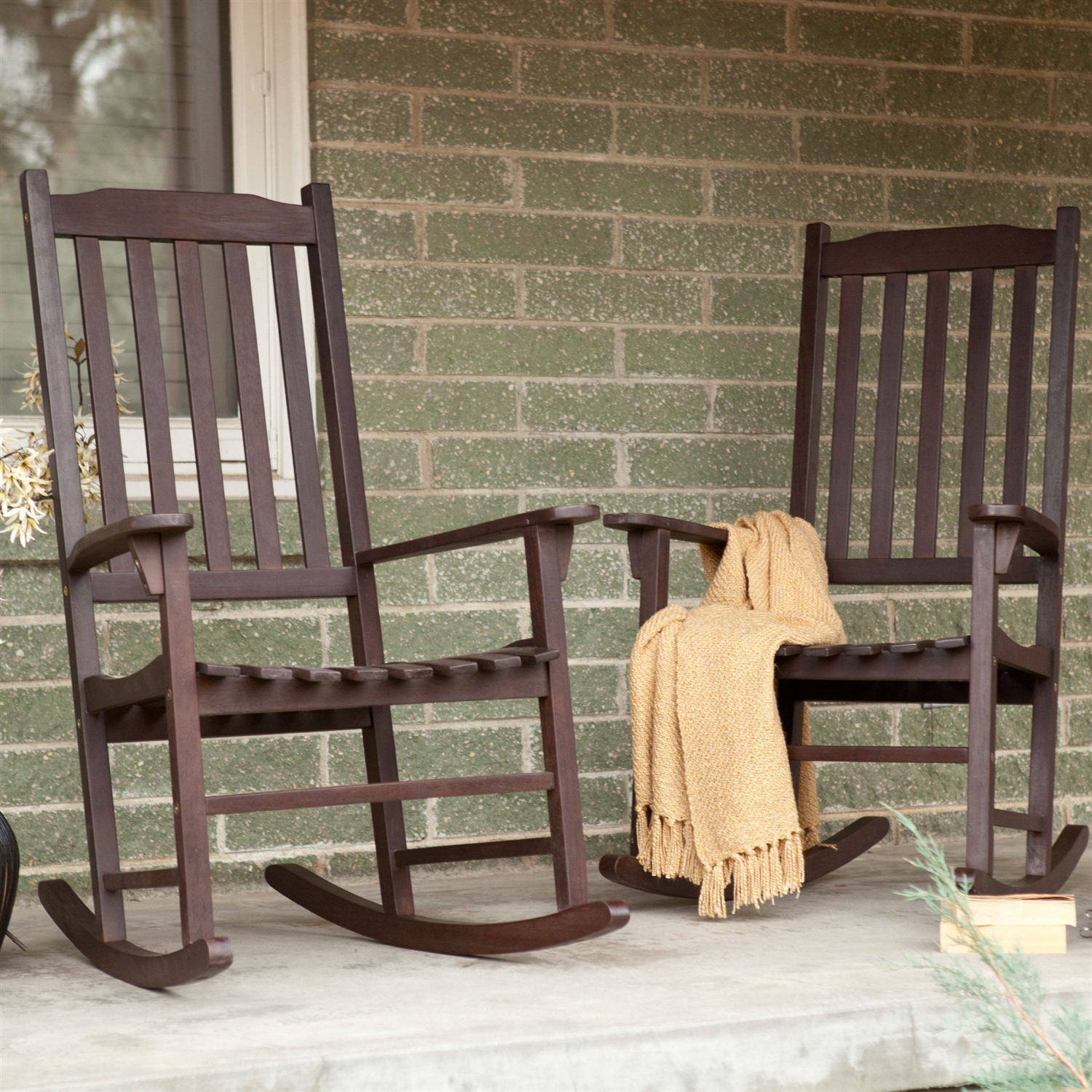 Set Of 2 – Indoor/outdoor Patio Porch Dark Brown Slat Rocking Chairs With Indoor / Outdoor Porch Slat Rocking Chairs (#20 of 20)