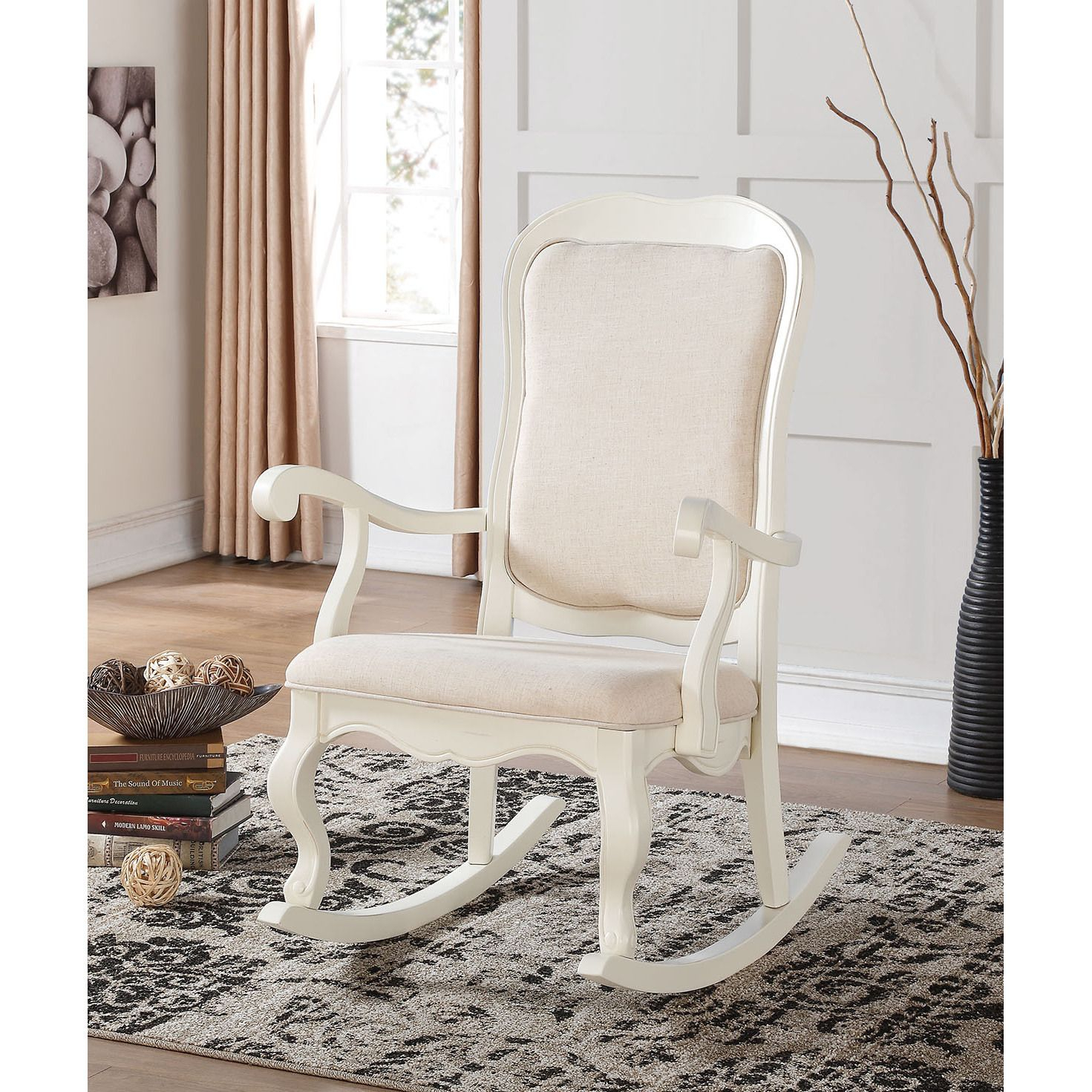 Popular Photo of Wooden Rocking Chairs With Fabric Upholstered Cushions, White