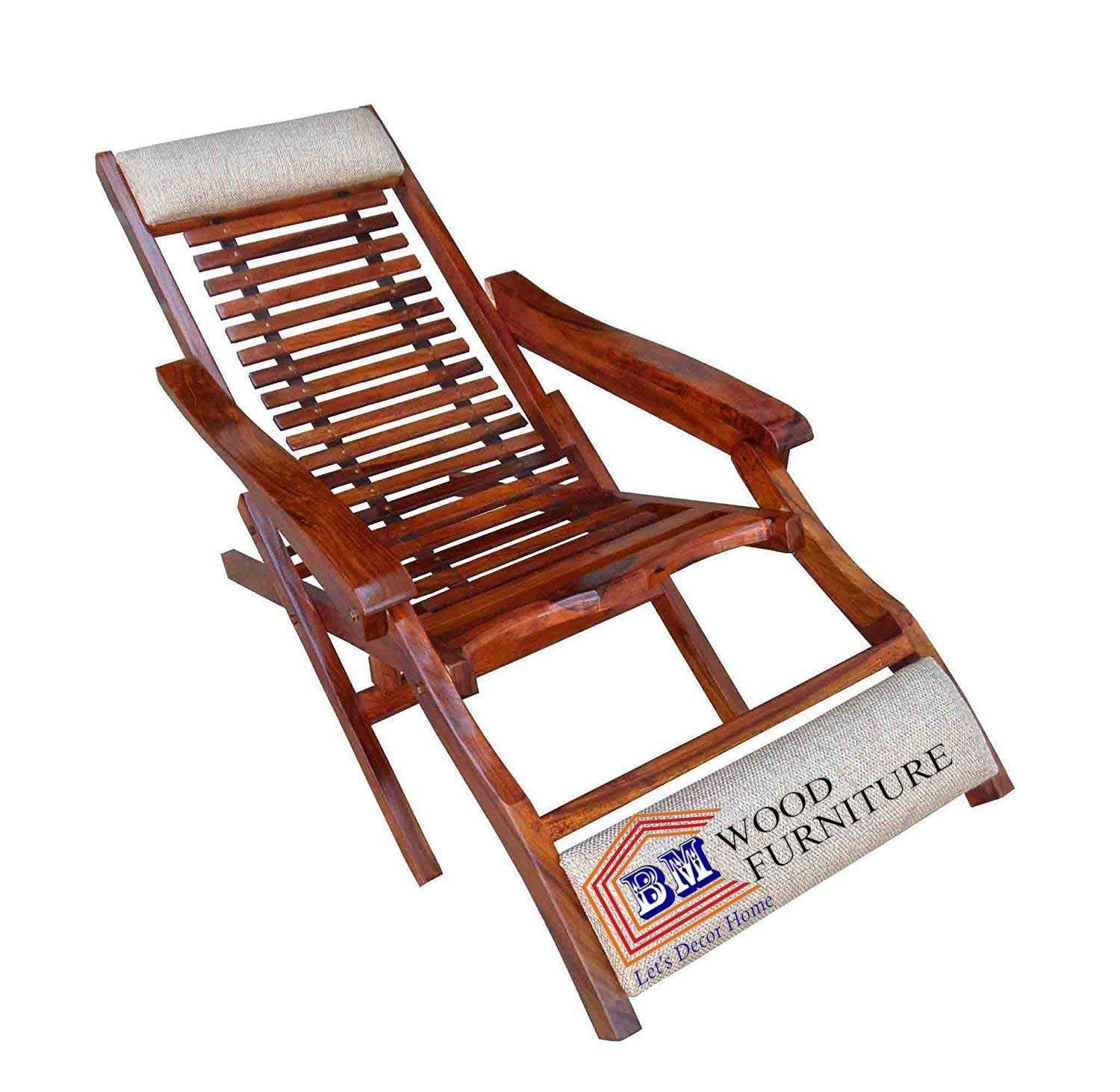 Sheesham Wood Folding Relaxing Beach Chair | Recliner/reclining | Foldable  Easy Chair | With Arm Rest | Natural Brown Finish Intended For Natural Brown Wood Folding Rocking Chairs (#19 of 20)