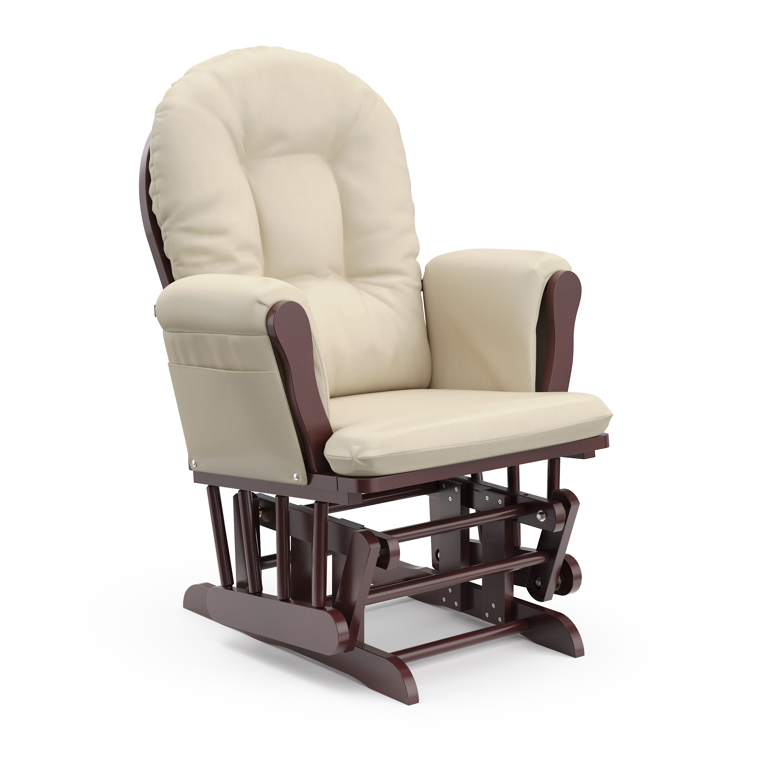 Popular Photo of Beige Fabric And Cherry Wood Rocking Chairs