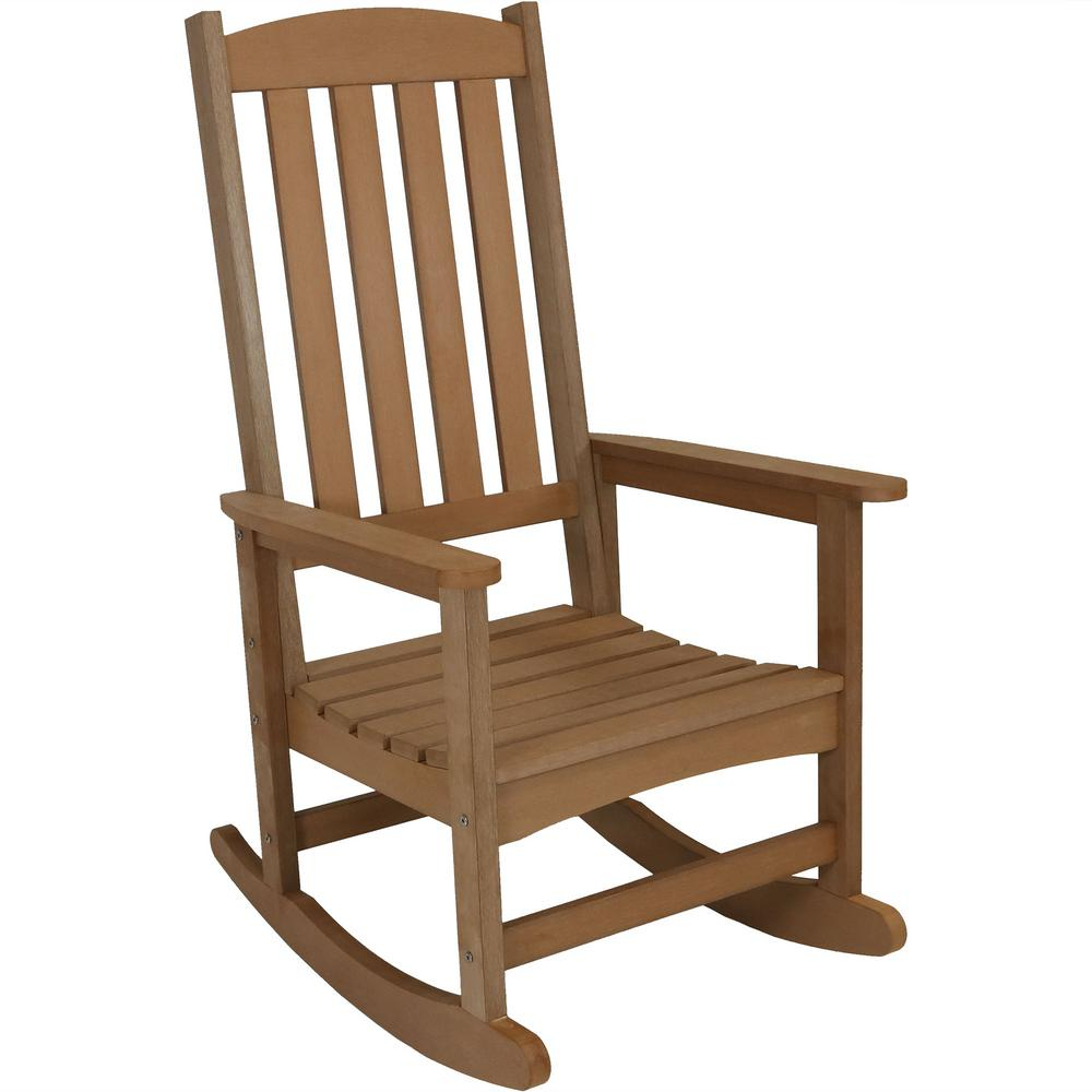 Sunnydaze Decor All Weather Brown Traditional Plastic Patio Rocking Chair With Regard To Traditional Wooden Porch Rocking Chairs (#18 of 20)