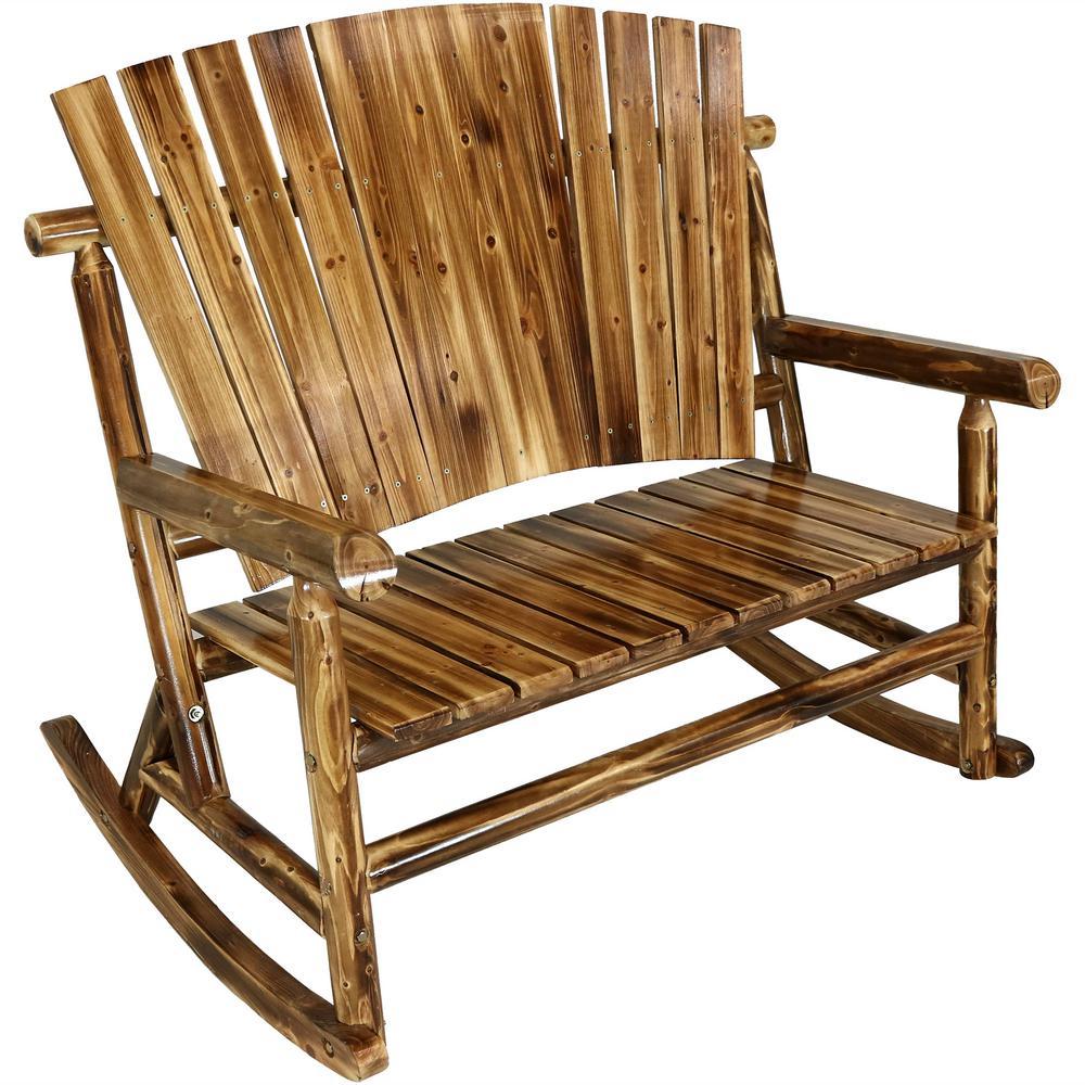 Sunnydaze Decor Rustic Fir Wood Log Cabin Patio Rocking Loveseat With Fan  Back Design, 2 Person 500 Lbs (#20 of 20)
