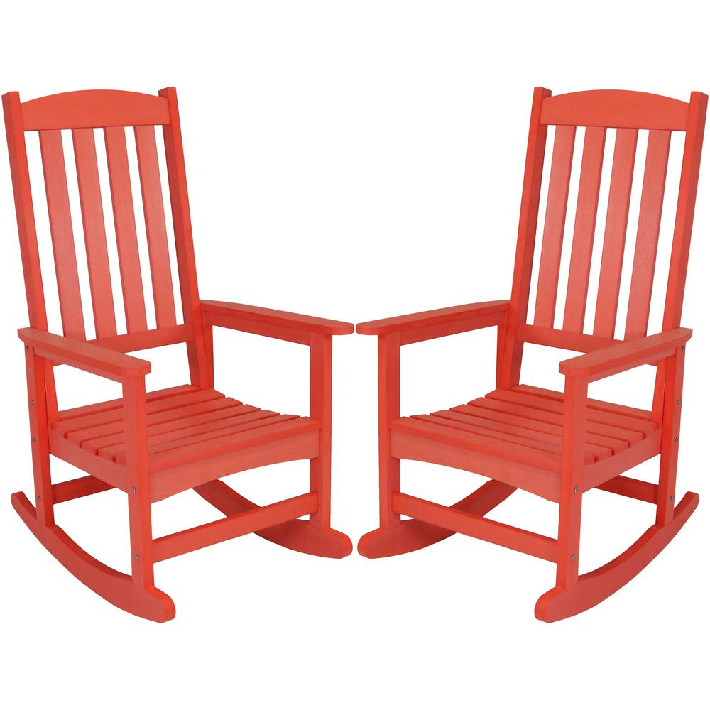 Sunnydaze Decor Salmon All Weather Traditional Plastic Patio Rocking Chairs  (2 Set) Pertaining To Traditional Wooden Porch Rocking Chairs (#19 of 20)