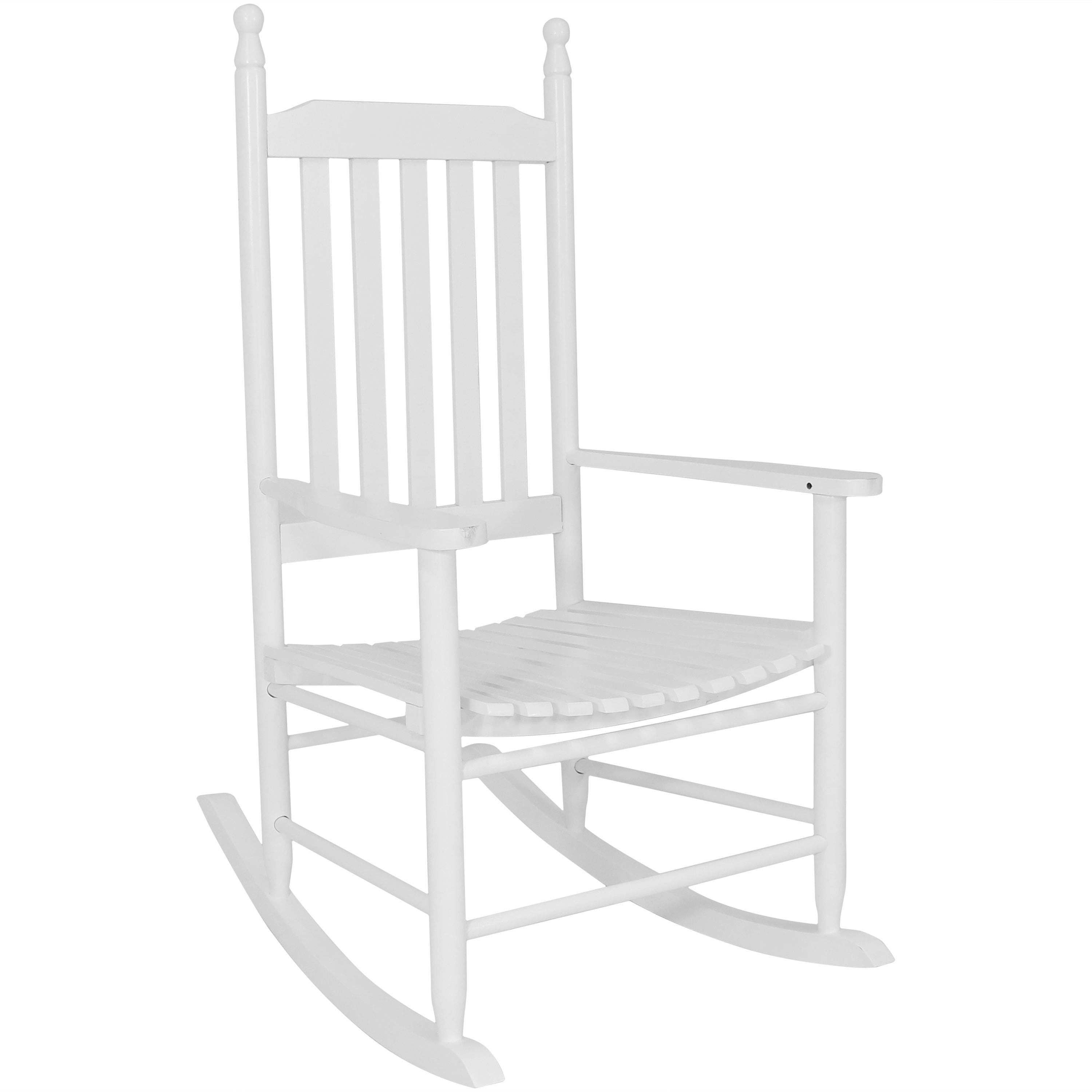 Sunnydaze Wooden Traditional Rocking Chair With Non Toxic Paint Finish –  White With Brady Traditional White Rocking Chairs (#19 of 20)