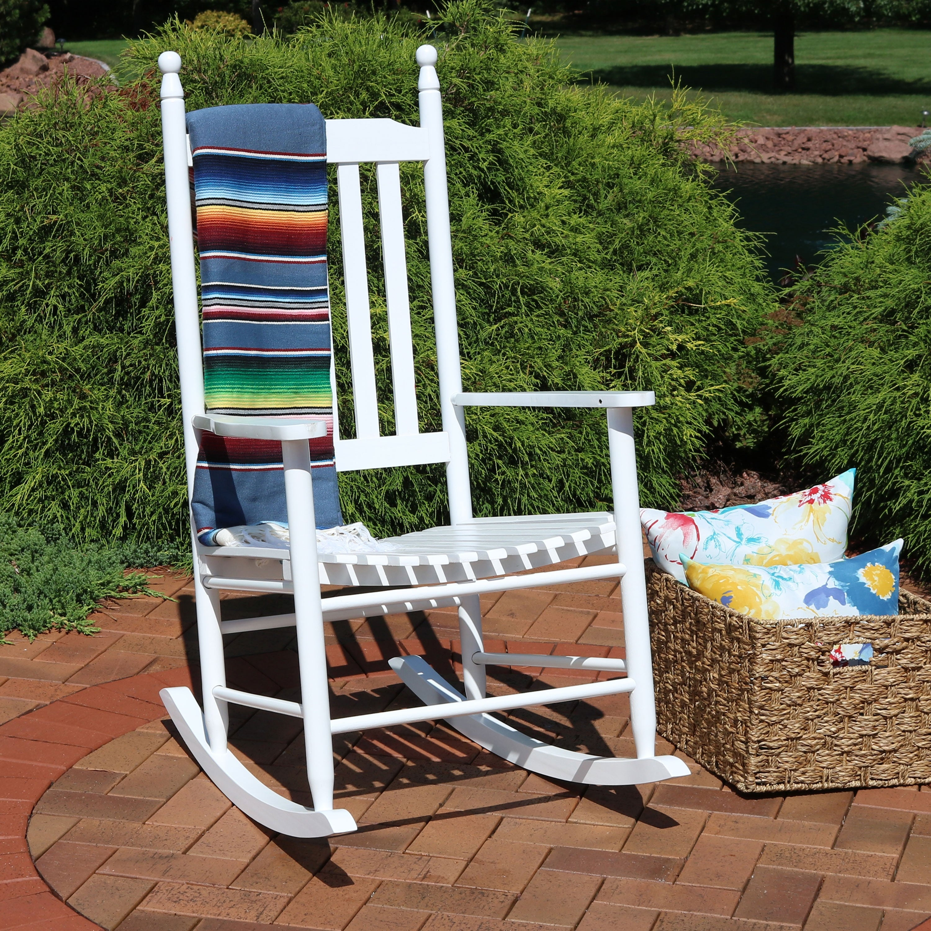 Sunnydaze Wooden Traditional Rocking Chair With Non Toxic Paint Finish –  White With Brady Traditional White Rocking Chairs (#18 of 20)