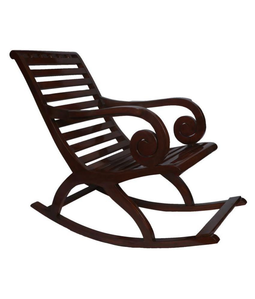 Inspiration about Teakwood Rocking Chair In Walnut Finish Round Handle Intended For Walnut Wood Rocking Chairs (#18 of 20)