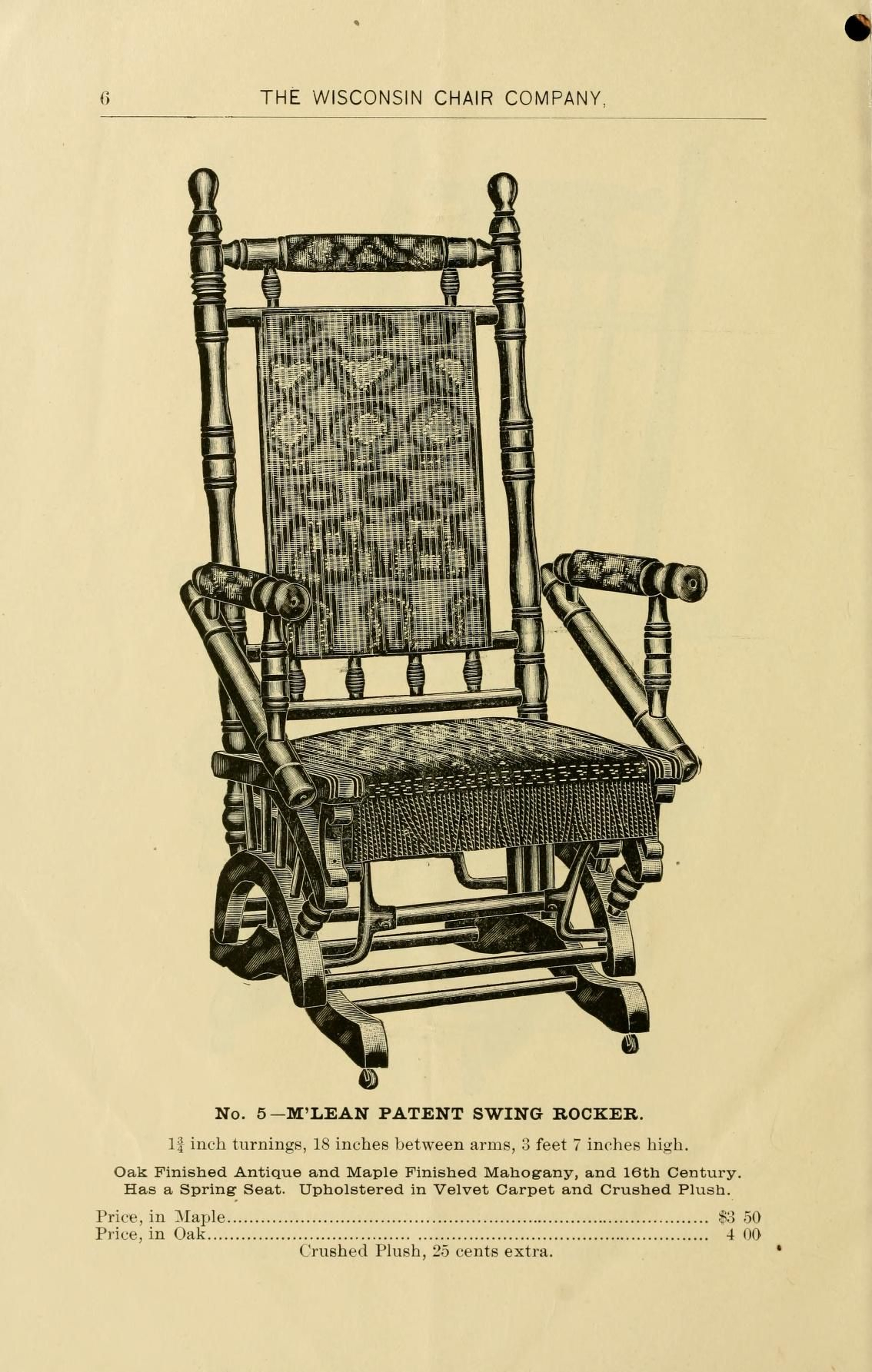 The Wisconsin Chair Company, Manufacturers Of The Mc Lean With Regard To Dover Bentwood Rocking Chairs (#16 of 20)