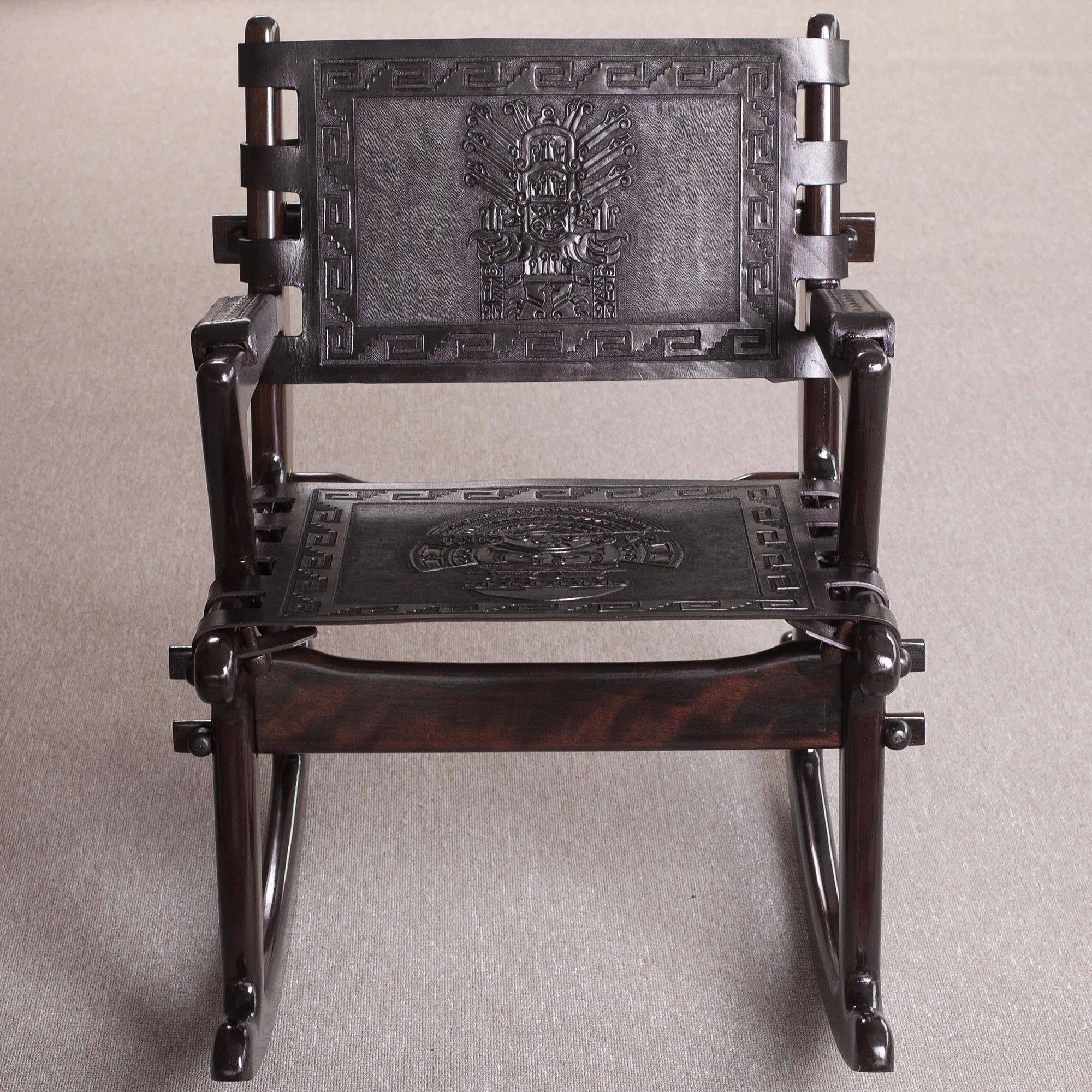Inspiration about Tornillo Wood And Leather Chavin Deities Rocking Chair With Wood And Leather Chavin Deities Rocking Chairs (#4 of 20)