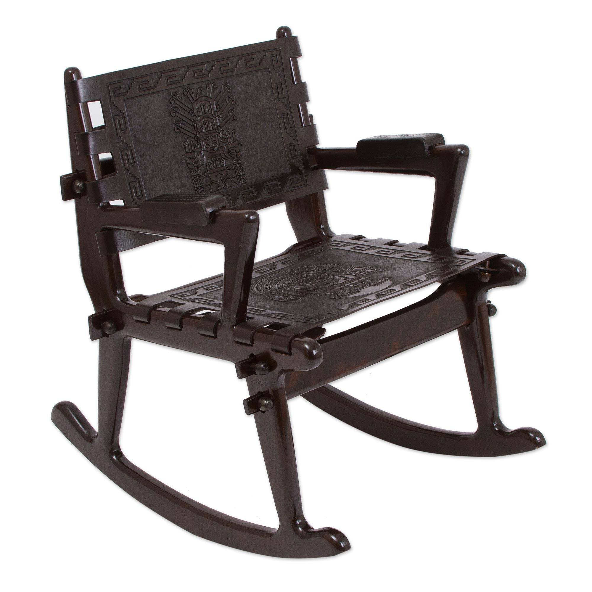 Inspiration about Tornillo Wood And Leather Rocking Chair, 'chavin Deities' Regarding Wood And Leather Chavin Deities Rocking Chairs (#1 of 20)