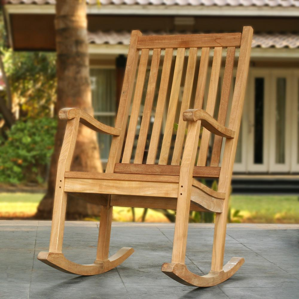 Inspiration about Tortuga Outdoor Jakarta Teak Wood Patio Rocking Chair Within Warm Brown Slat Back Rocking Chairs (#15 of 20)
