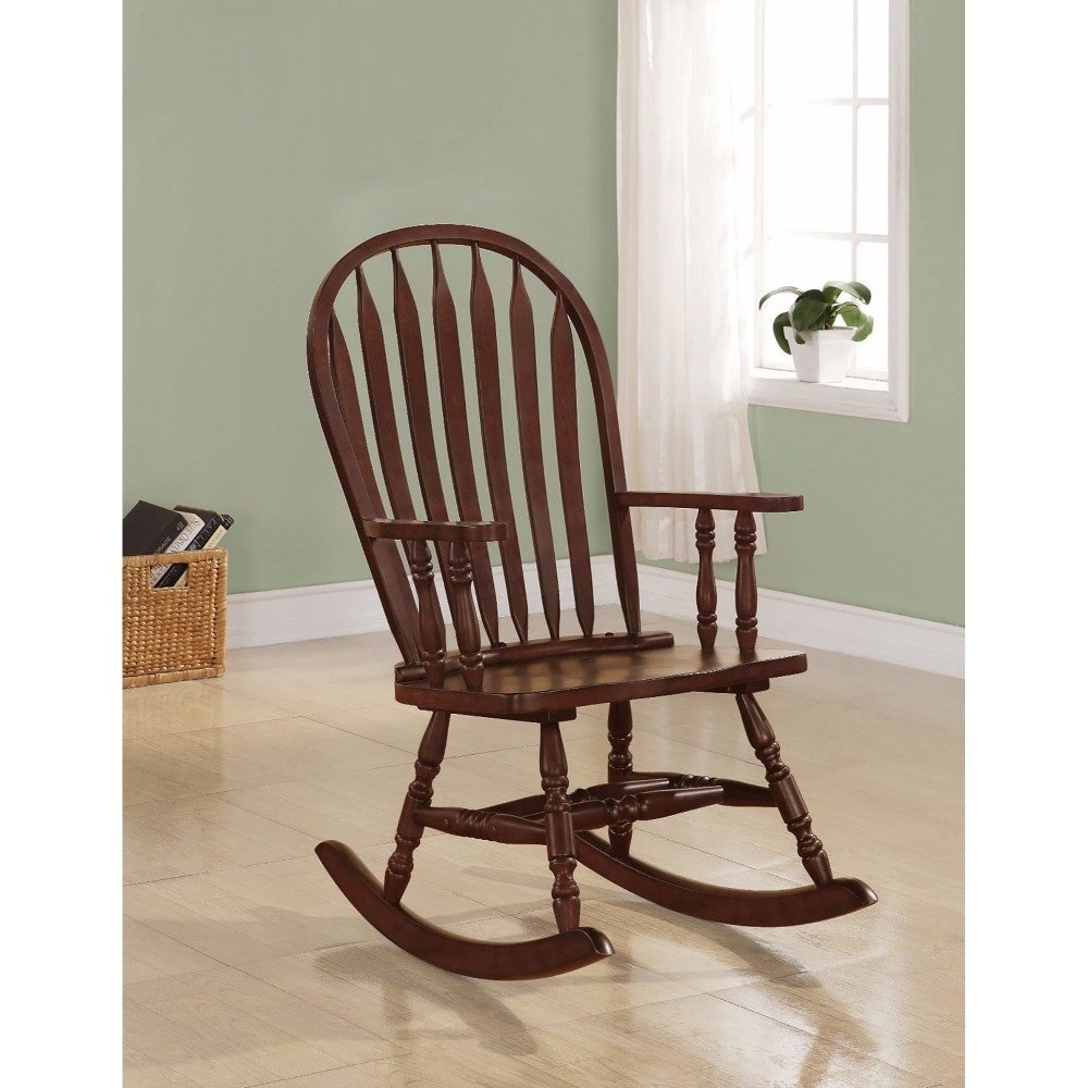 Inspiration about Traditional Style Rocking Porch Chair, Brown In Madrone Windsor Country Style Rocking Chairs (#17 of 20)