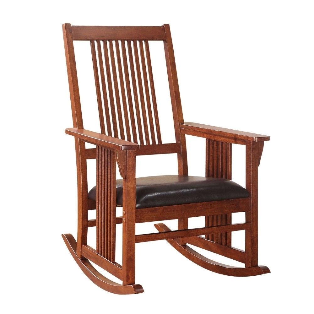 Inspiration about Traditional Style Wooden Rocking Chair With Slat Back, Brown Throughout Rosewood Traditional Dark Oak Rocking Accent Chairs (#8 of 20)