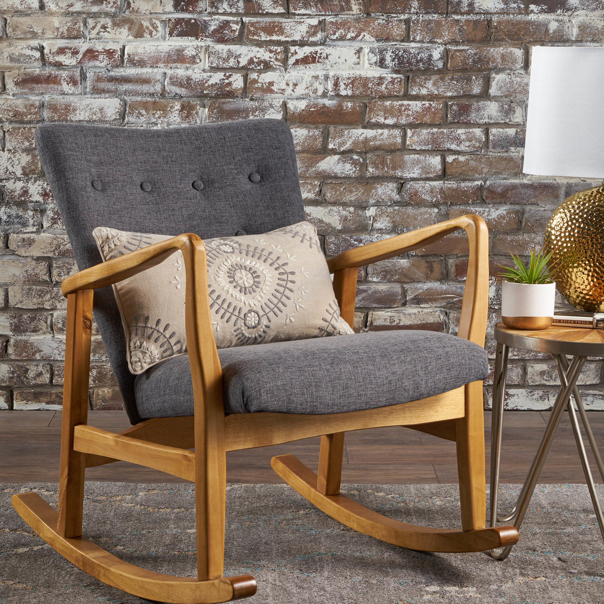 Inspiration about Tufted Wingback Rocking Chair You'll Love In 2019 | Wayfair Inside Rocking Chairs In Linen Fabric With Brushed Finish Base (#13 of 20)